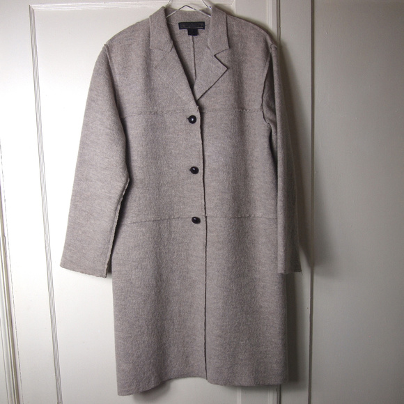 Herman Geist Jackets & Blazers - Gray/Beige Boiled Wool Car Coat Lightweight M